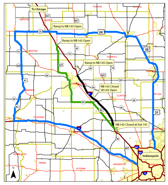 INDOT 65 map