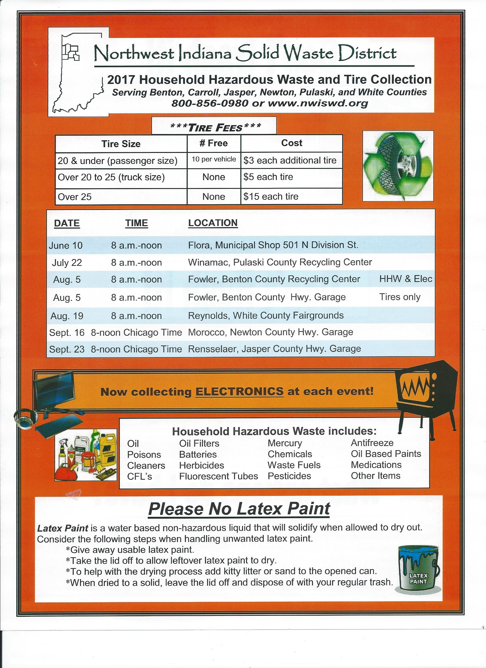 2017 Household Hazardous Waste and Tire Collection June 10 in